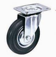 Колесная опора поворотная, обод - прессованный из листовой стали, шинка - литая черная резина, платформенное крепление, роликоподшипник  (SC93 (11))