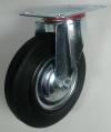 Колесная опора поворотная, обод - прессованный из листовой стали, шинка - литая черная резина, платформенное крепление, стандартные, роликоподшипник (SC42 (L), t-1,8мм)