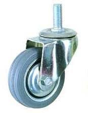 Колесная опора поворотная, обод - прессованный из листовой стали, шинка - литая серая резина, болтовое крепление, роликоподшипник   (SCt55f (12))