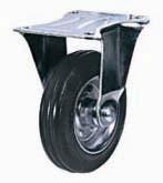 Колесные опоры промышленные усиленные неповоротные, обод - прессованный из листовой стали, оцинкован, шинка из полуэластичной черной резины, платформенное крепление, толщина металла кронштейна для диаметров колес 160 и 200 мм - 4,5 мм, роликоподшипник  (FRC93 (43))