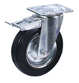Колесные опоры промышленные усиленные поворотные с тормозом, обод - прессованный из листовой стали, оцинкован, шинка из полуэластичной черной резины, платформенное крепление, толщина металла кронштейна для диаметров колес 160 и 200 мм - 4,5 мм, роликоподш (SRCb97 (43))