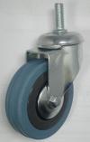 Колесные опоры аппаратные поворотные, серая резина, полипропиленовый обод, крепление с болтом, стандартные, подшипник скольжения (SCtg25 (L))