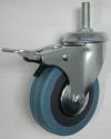 Колесные опоры аппаратные поворотные с тормозом, серая резина, полипропиленовый обод, крепление с болтом, стандартные, подшипник скольжения (SCtgb25 (L))