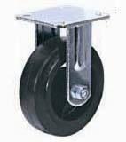 Колесные опоры большегрузные неповоротные, литая черная резина, чугунный обод, платформенное крепление, роликоподшипник  (FCd46 (29))