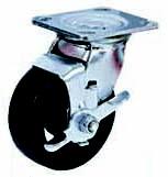 Колесные опоры большегрузные поворотные с тормозом, литая черная резина, чугунный обод, платформенное крепление, роликоподшипник  (SCdb42 (29))