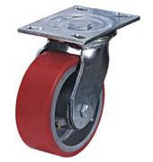 Колесные опоры большегрузные поворотные, полиуретановое покрытие, чугунный обод, платформенное крепление, роликоподшипник  (SCp93 (30))