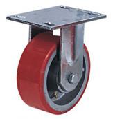 Колесные опоры большегрузные неповоротные, полиуретановое покрытие, чугунный обод, платформенное крепление, роликоподшипник  (FCp92 (30))