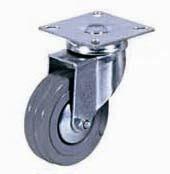 Колесные опоры аппаратные поворотные, серая резина, полипропиленовый обод, платформенное крепление, подшипник скольжения  (SCg25 (33))