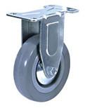 Колесные опоры аппаратные неповоротные, серая резина, полипропиленовый обод, платформенное крепление, подшипник скольжения  (FCg25 (33))