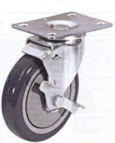Колесные опоры аппаратные поворотные с тормозом, термо-пластичная серая резина, полипропиленовый обод, платформенное крепление, шарикоподшипник   (SCkb42 (22))