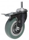 Колесные опоры аппаратные поворотные с тормозом, серая резина, полипропиленовый обод, крепление с болтом, подшипник скольжения  (SCtgb25 (33))