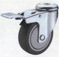 Колесные опоры аппаратные поворотные с тормозом, термо-пластичная серая резина, полипропиленовый обод, крепление под болт, шарикоподшипник   (SChgb100(TPR))