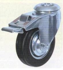 Колесная опора поворотная с тормозом, обод - прессованный из листовой стали, шинка - литая черная резина, крепление под болт, роликоподшипник (SChb63 (13))