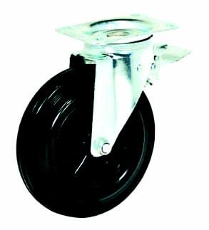 Колесные опоры усиленные поворотные с тормозом для евроконтейнеров, обод - из пластика, шинка из полуэластичной черной резины, платформенное крепление, толщина металла кронштейна - 3 мм, подшипник скольжения, пластиковая втулка (SCb80 KU (82))