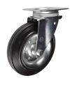 Колесные опоры усиленные поворотные для евроконтейнеров, обод - прессованный из листовой стали, шинка из полуэластичной черной резины, платформенное крепление, толщина металла кронштейна - 3,5 мм, роликоподшипник (SC80 FAD (81))