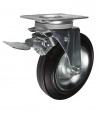 Колесные опоры усиленные поворотные с тормозом для евроконтейнеров, обод - прессованный из листовой стали, шинка из полуэластичной черной резины, платформенное крепление, толщина металла кронштейна - 3,5 мм, роликоподшипник (SCb80 FAD (81))