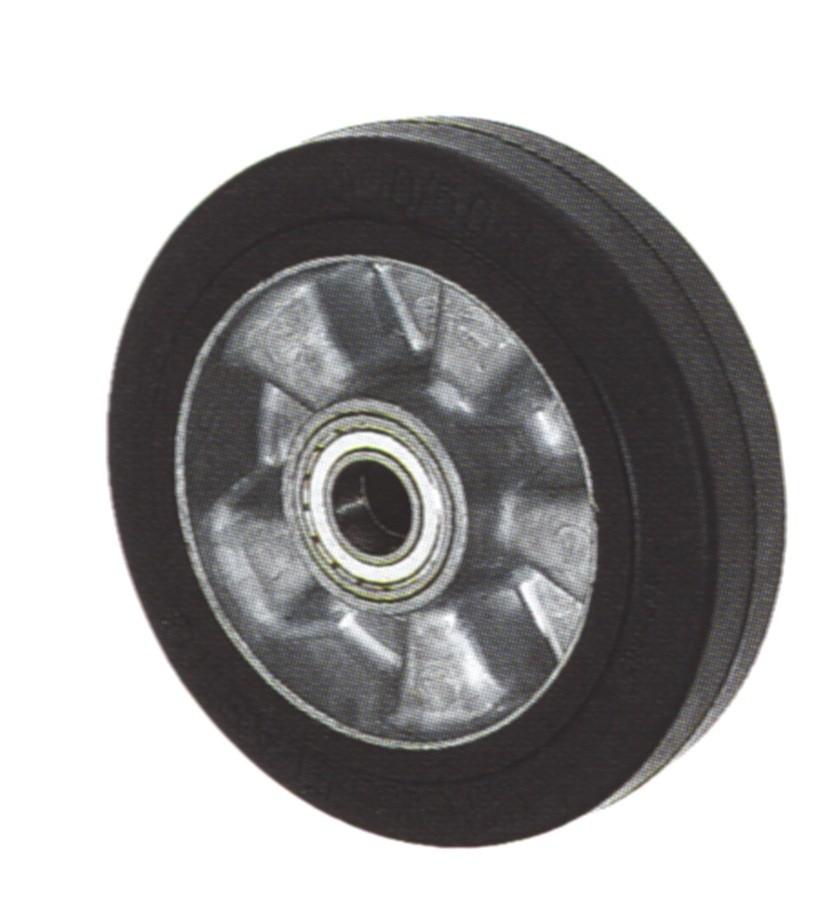 Колеса тяжелогрузные, алюминиевый обод, эластичная черная резина,  шарикоподшипник, и для гидравлической тележки (F3/200/50/4K)